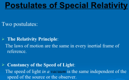 postulates of special theory of relativity
