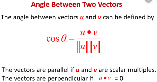 Angle between two vectors
