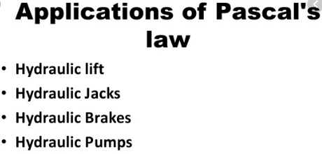 applications of pascal law