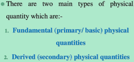 Types of physical quantities