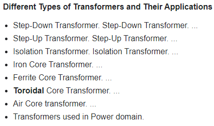 types of transformer with diagram
