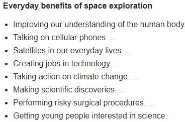 Space exploration benefits