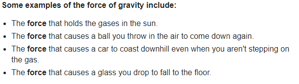 Examples of gravitational force